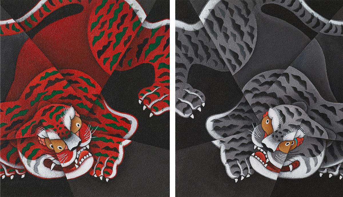 쌍호도(1), 쌍호도(2) 106 x 90cm overall, Acrylic on Canvas.jpg