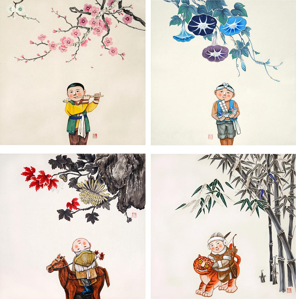 純粹時節-봄, 여름, 가을, 겨울  30x30 이합지에 진채 은박.jpg