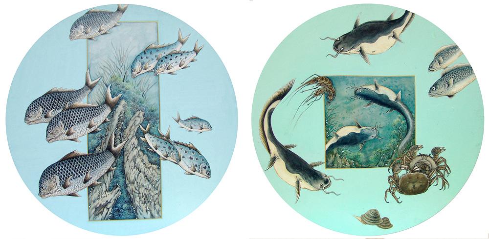양재천 新漁蟹圖 16-02, 17-01 60정원형 순지에 봉채, 분채.jpg