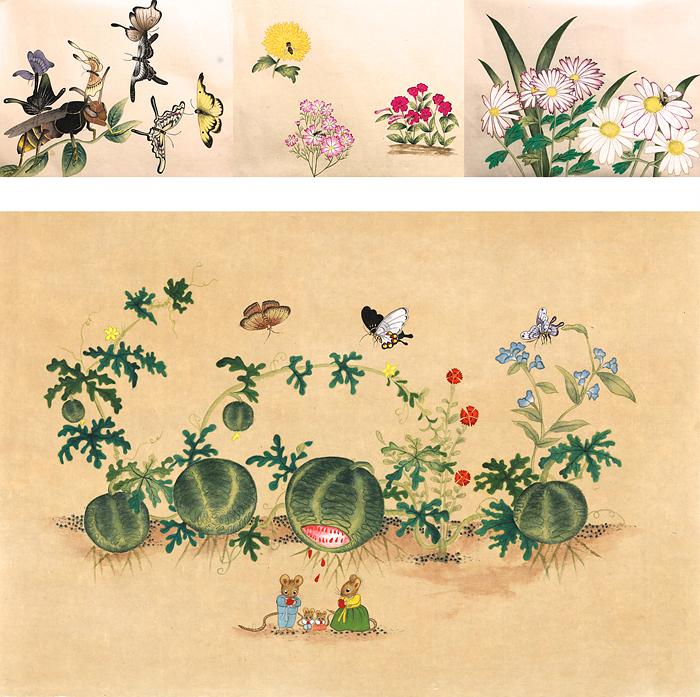05. 꿀벌아 뭐하니 시리즈 42x33cmx3a, 수박초충도 45x65cm.jpg