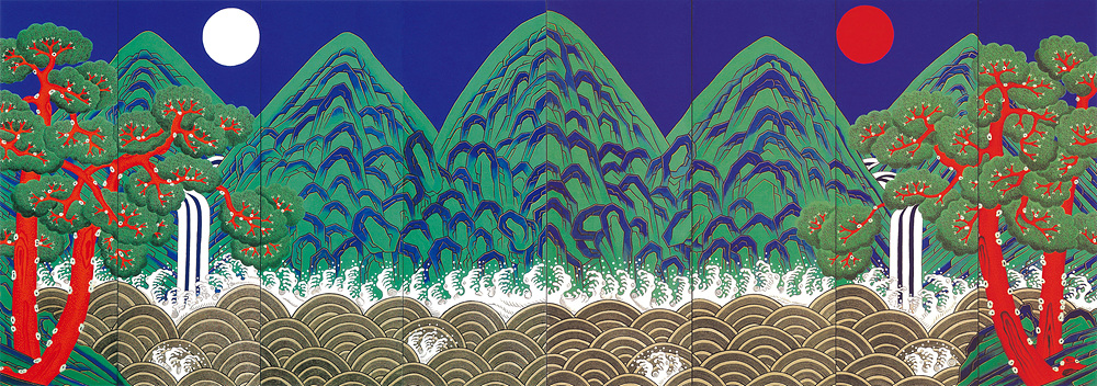 일월오봉도8폭병풍 440x130cm순지에 먹,봉채,분채,금분 2004.jpg