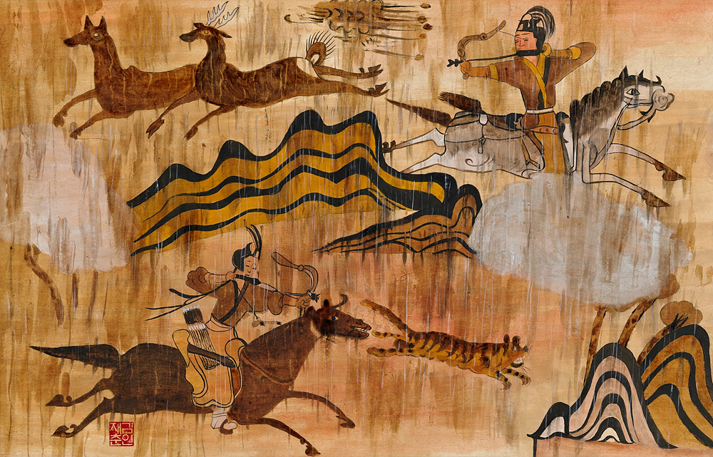 오래된 벽화 1(수렵도) 70x50cm, 순지에 흙,경면주사,황토,백토 2010.jpg