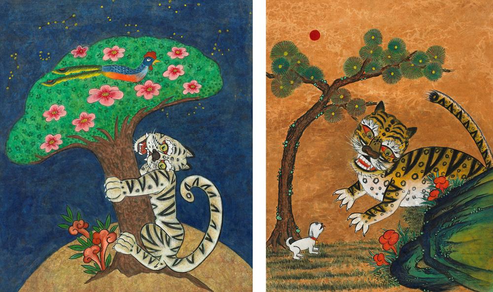 달나라 호랑이 56x63cm, 한지에 분채,먹       사랑이 50x65cm, 한지에 분채,먹.jpg