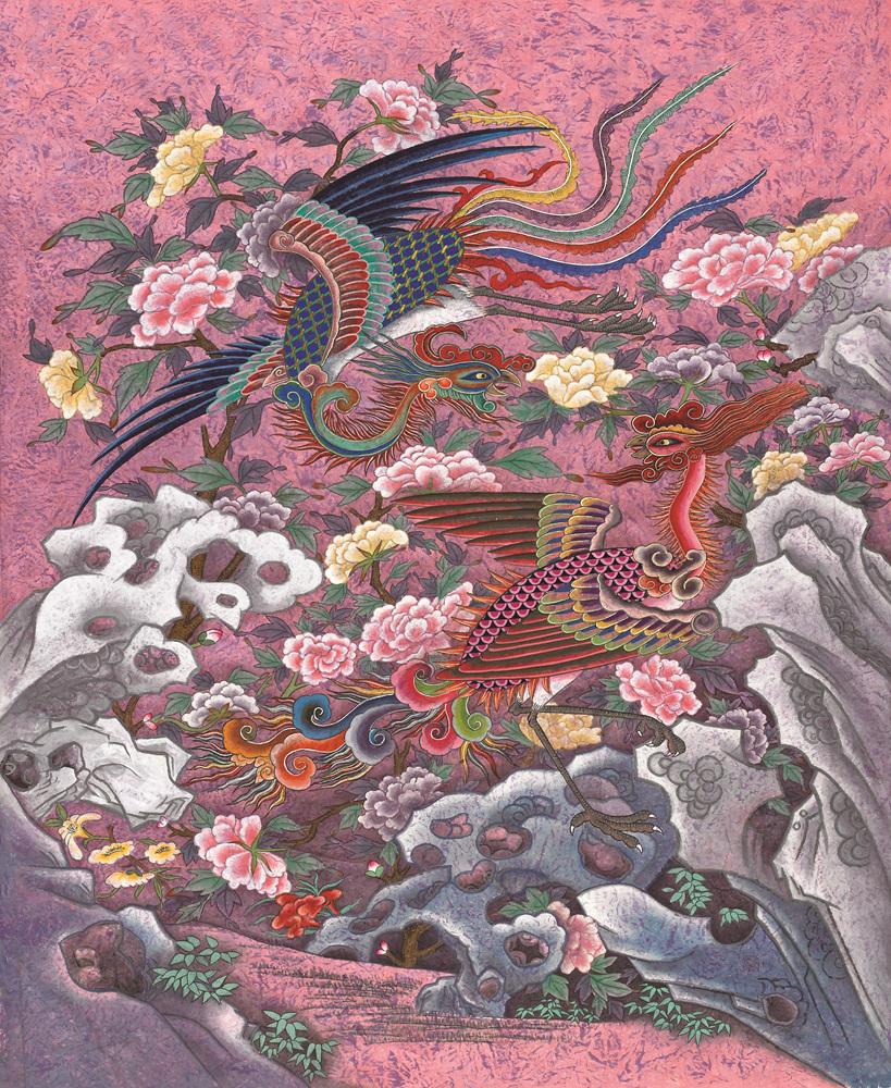 무릉도원에서 봉황이 놀다 130x150cm,한지에 분채,먹.jpg
