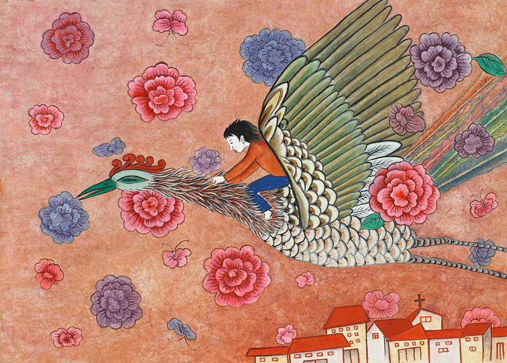 프라하를 날다 130x150cm,한지에 분채,먹.jpg